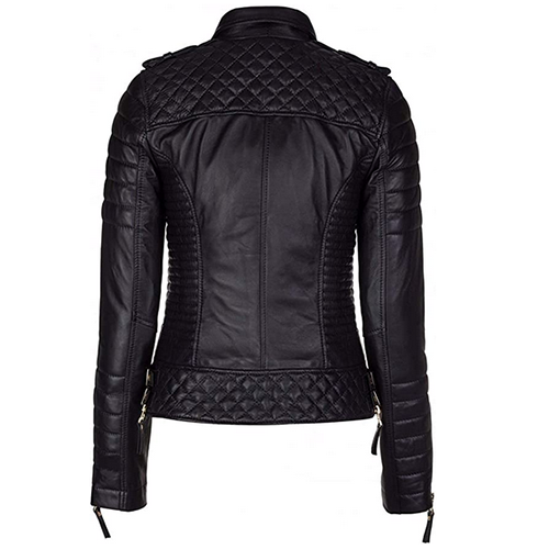 BLACK DIAMOND QUILTED WOMEN LEATHER JACKET