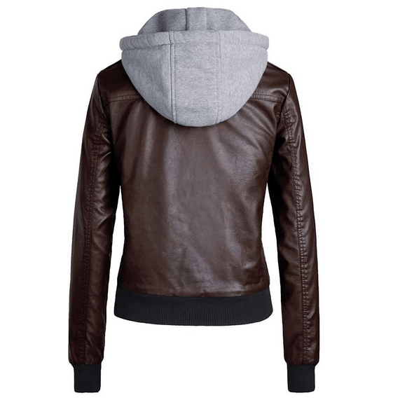 Coffee-Brown-Bomber-Removable-Hood-Leather-Jacket