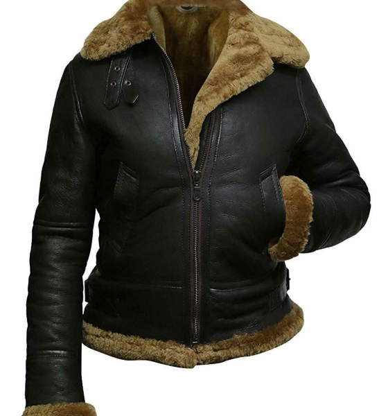 WOMEN BLACK HOODED SYNTHETIC SHEARLING LEATHER JACKET
