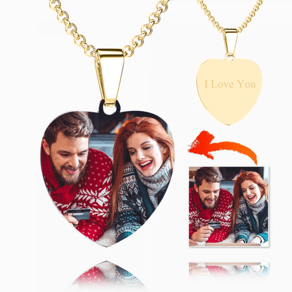 PERSONALISED STAINLESS STEEL PHOTO HEART NECKLACE