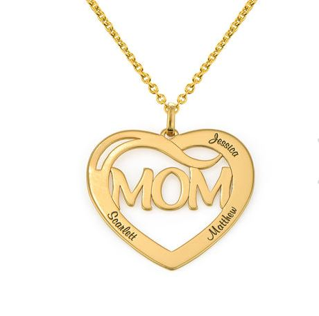 PERSONALISED MOM HEART NECKLACE WITH KIDS NAME