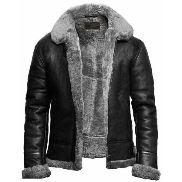 BLACK SHEARLING FUR COLLAR LEATHER JACKET