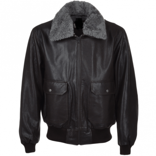 MENS AVIATOR-FUR-COLLAR-BLACK-LEATHER-JACKET-FRONT