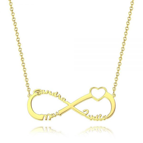 PERSONALISED 3 NAME NECKLACE WITH HEART