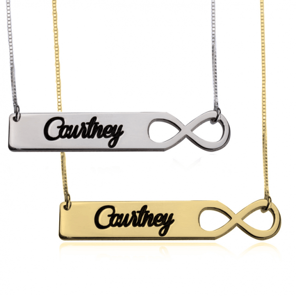 PERSONALISED INFINITY BAR NECKLACE