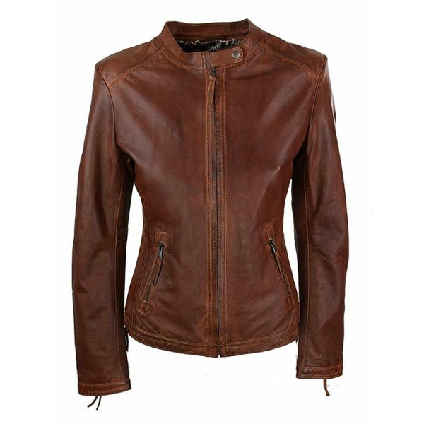 WOMEN VINTAGE BROWN AVIATOR LEATHER JACKET