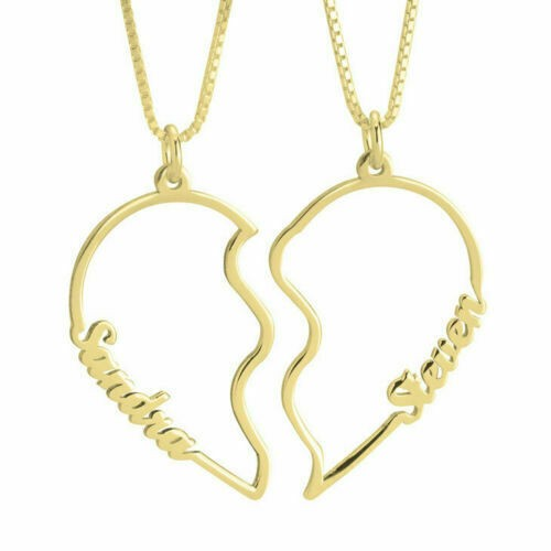 PERSONALISED BROKEN HEART COUPLE NAME NECKLACE
