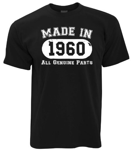 MADE IN 1960 ALL GENUINE PARTS BIRTHDAY T SHIRT