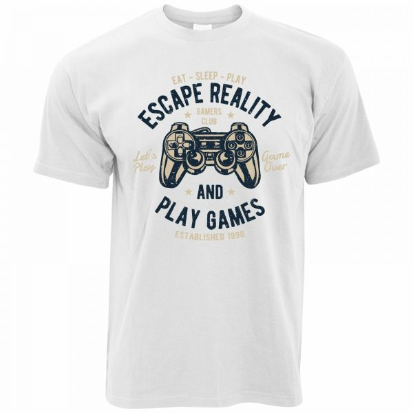 Escape Reality And Play Games Mens Retro Gamer Art T Shirt