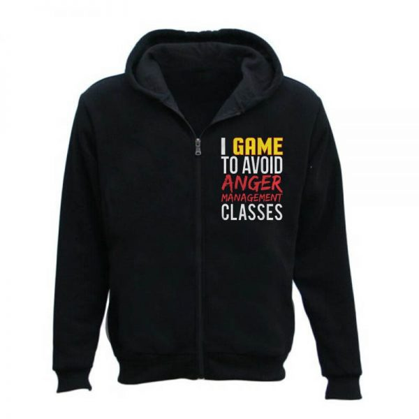 Men's Gamer Anger Video Gaming Zipper Hoodie
