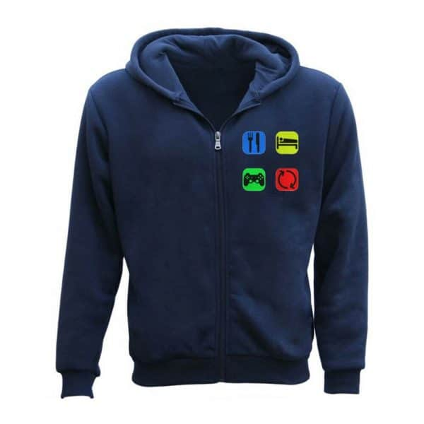 Men's Eat Sleep Game Repeat Gamer Zipper Hoodie
