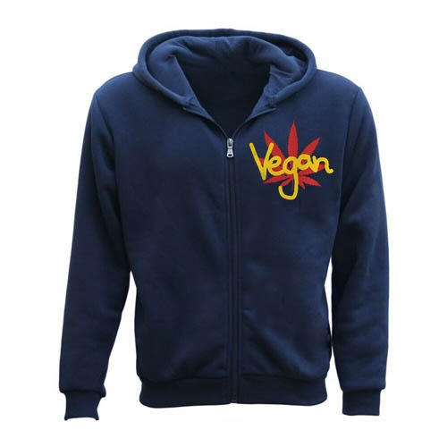Vegan Men Zipper Hoodie blue