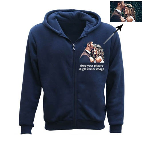 Men's Personalised Any Text/Picture Vector Zipper Hoodie blue