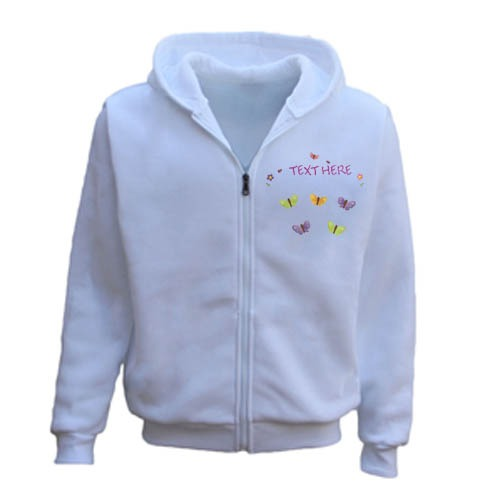 Men's Personalised Any Name/Text Butterfly Gardening Zipper Hoodie white