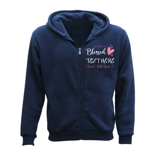 Extremely Blessed Heart Personalised Any Text Name Zipper Hoodie blue