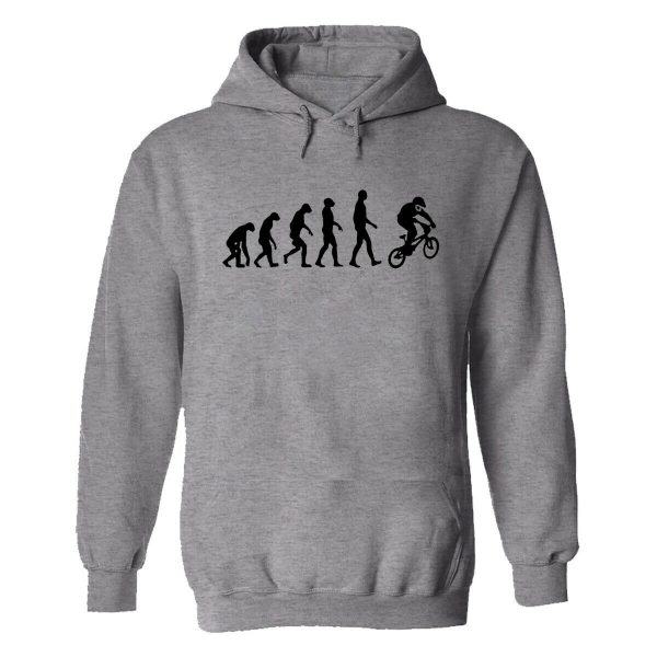Evolution Biker Funny Real Rider Men's Hoodie Gery