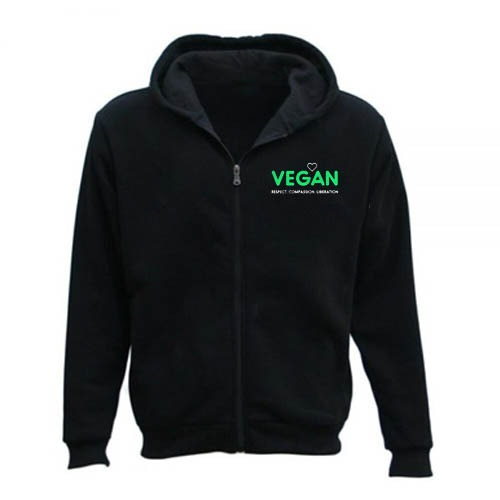 Men's Vegan Vegetarian Zipper Hoodie black