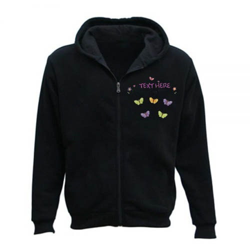 Men's Personalised Any Name/Text Butterfly Gardening Zipper Hoodie black