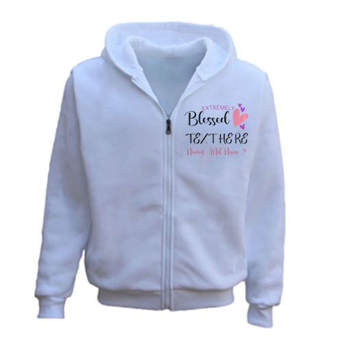 Extremely Blessed Heart Personalised Any Text Name Zipper Hoodie white
