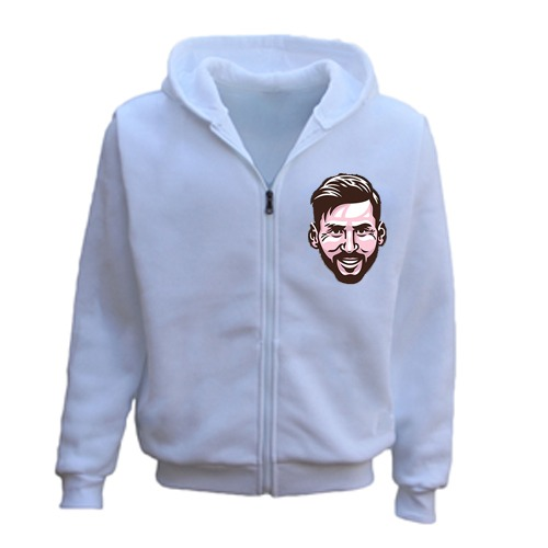 PERSONALISED MESSI FACE CARICATURE ZIPPER HOODIE WHITE