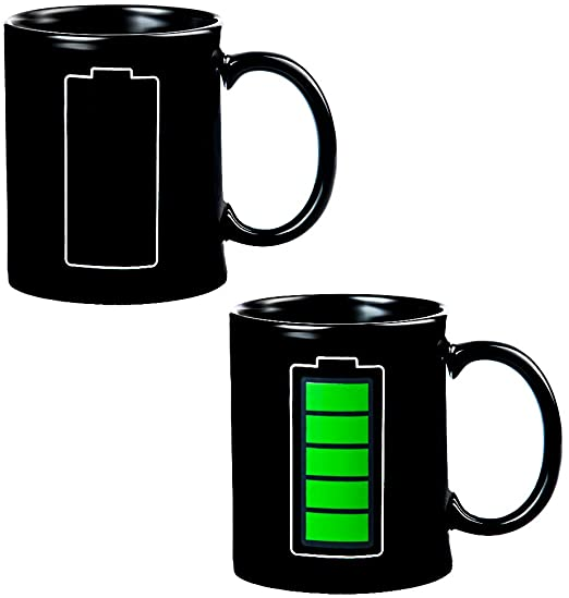 MAGIC HEAT CHANGING COFFEE MUG BATTERY METER FUNNY CUP