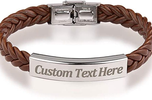 LEATHER CLASSIC BRAIDED ROPE BRACELET CUSTOM ENGRAVAD MESSAGE STAINLESS STEEL BANGLE UNISEX GIFT
