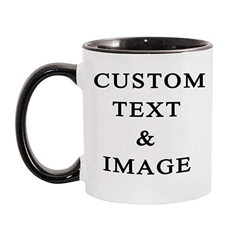 CUSTOMIZED CERAMIC COFFEE MUGS WITH PERSONALISED TEXT AND PHOTO IMAGE