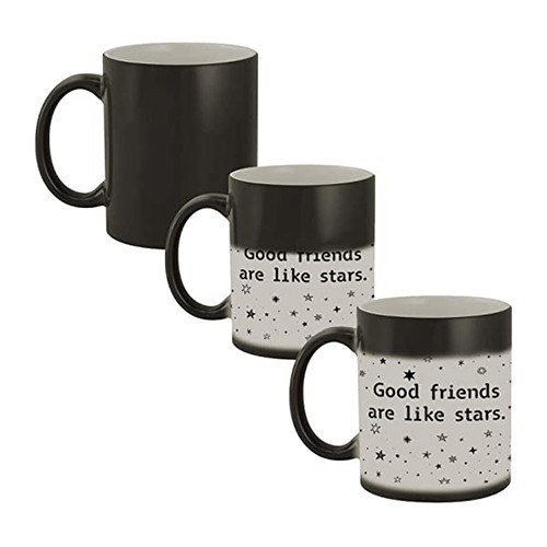 GOOD FRIENDS ARE LIKE STARS, THEY ARE ALWAYS THERE CERAMIC HEAT SENSITIVE MAGIC MUG