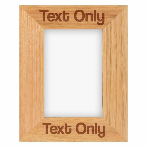 PERSONALISED WOODEN OAK PHOTO FRAME ANY MESSAGE OR NAME - Brown