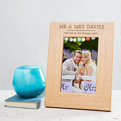 PERSONALISED PICTURE PHOTO FRAME WEDDING GIFT FOR THE COUPLE - Brown