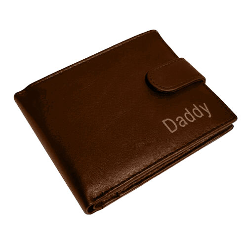 PERSONALISED MENS LEATHER WALLET DADDY brown