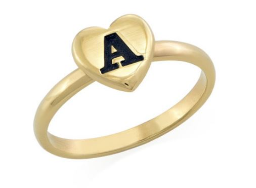 PERSONALISED HEART INITIAL STACKING RING