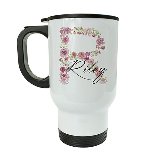 PERSONALISED INSULATED TRAVEL MUG FLORAL INITIAL