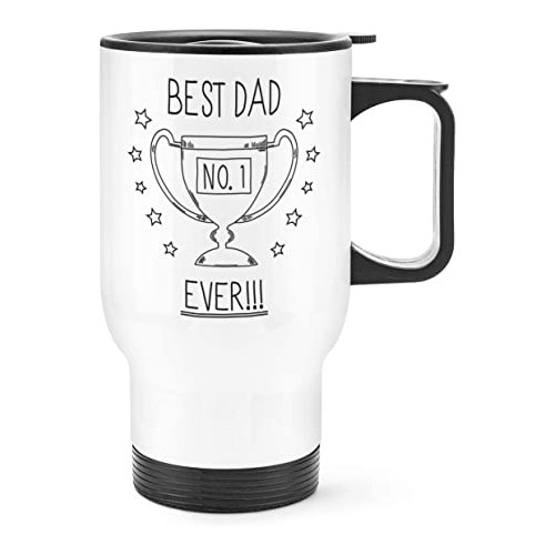 BEST DAD EVER NO.1 TRAVEL MUG CUP WITH HANDLE