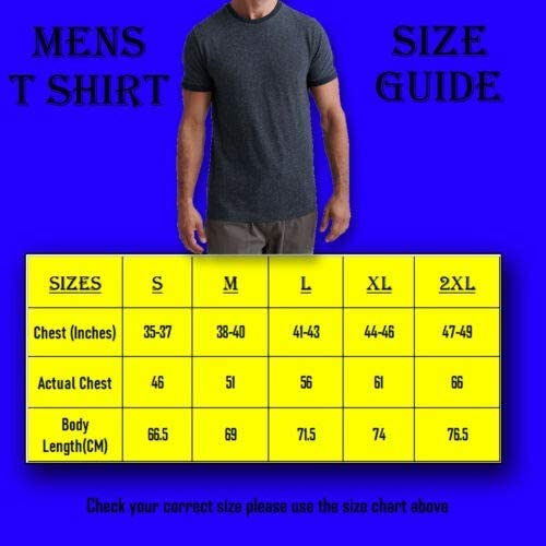 Men Size Chart for T shirt