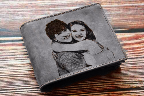 PERSONALISED LEATHER WALLET ENGRAVAD IMAGE TEXT PHOTO BLACK