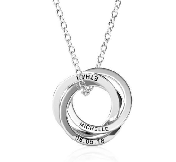 PERSONALISED RUSSIAN FOUR RING NECKLACE