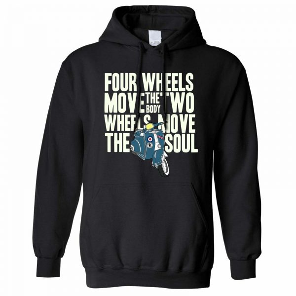 Biking Hoodie Two Wheels Move The Soul Biker Slogan Motivational Quote