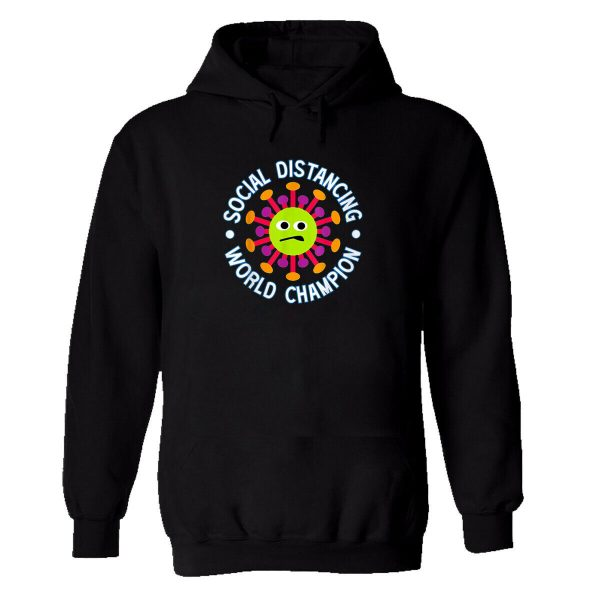 Mens Hoodie Social Distance World Champion Jumper Self Isolation Pandemic