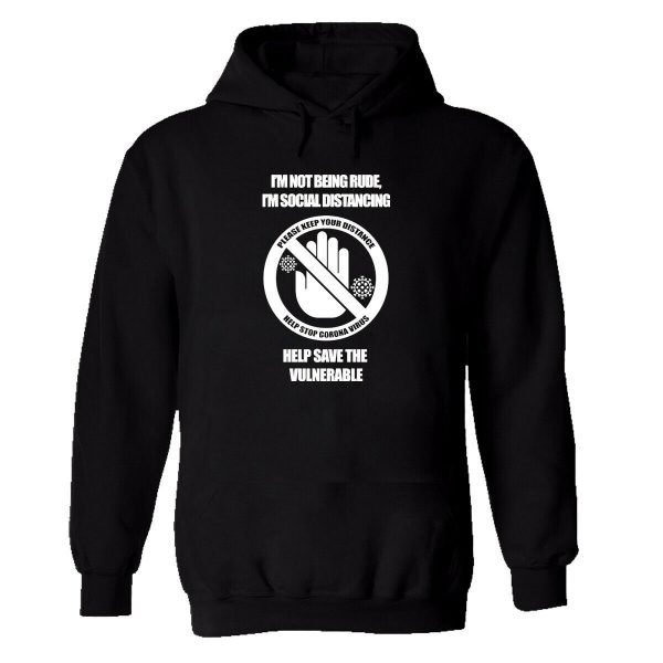 Mens Unisex Hoodie Black Please Respect Others Space Jumper Social Distance Top