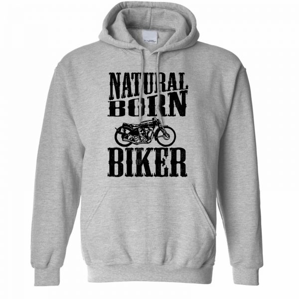 Biker Hoodie Natural Born Biker Slogan Motorcycles Biking Bike Road