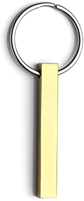 PERSONALISED CUSTOM MESSAGE VERTICAL CUBOID BAR RECTANGLE KEYCHAIN STAINLESS STEEL KEY CHAIN RING
