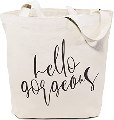 PERSONALISED THE COTTON TOTE BAG HELLO GORGEOUS - White