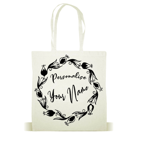 PERSONALISED TOTE BAG ANY NAME/TEXT WOMEN - White