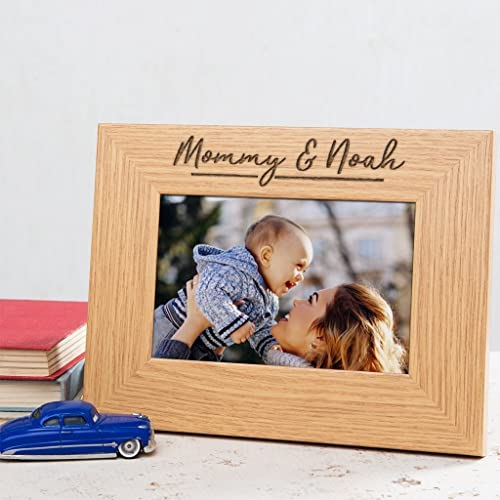 PERSONALISED ENGRAVED WOOD PHOTO FRAME MUMMY AND ME PICTURE FRAME - Brown