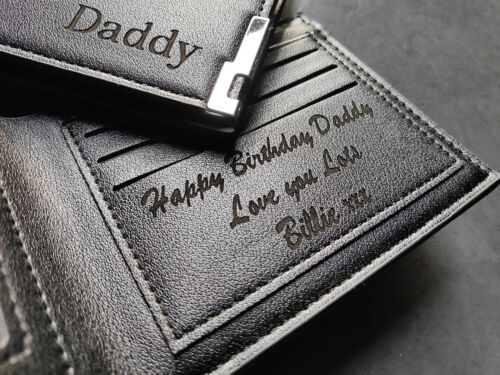 PERSONALISED REAL LEATHER MEN'S WALLET ANNIVERSARY GRADUATION