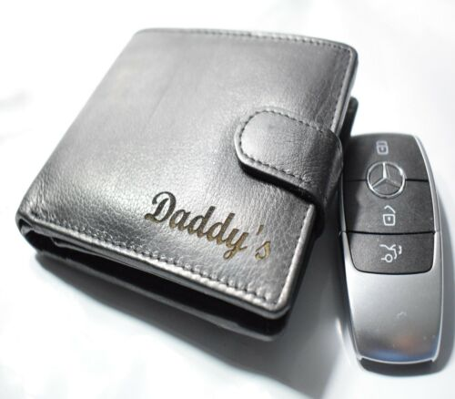 PERSONALISED MEN'S REAL LEATHER COIN BLACK WALLET