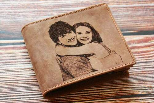 PERSONALISED LEATHER WALLET ENGRAVAD IMAGE TEXT PHOTO - Brown