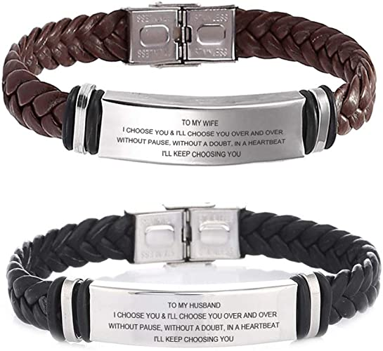 2PCS STAINLESS STEEL ENGRAVING NAME PERSONALIZED COUPLE BRACELETS,CUSTOMIZED BRAIDED LEATHER HIS HER MOTIVATIONAL COUPLES BRACELETS