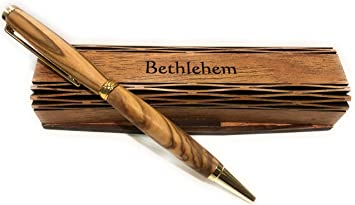 PERSONALISED HAMDMADE BALLPOINT PEN HANDCRAFTED OLIVE WOOD WOODEN BOX BETHLEHEM - Brown